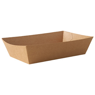 """Snacksbricka tillverkad av kartong """"pure"""" 4,3 cm x 8,5 cm x 15 cm brun"""